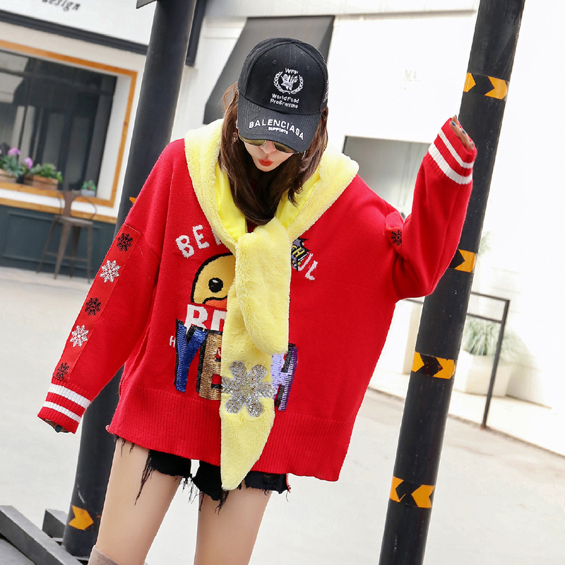 European station 2018 winter new letter sequins small yellow duck snowflake wearing hat loose sweater female coat top