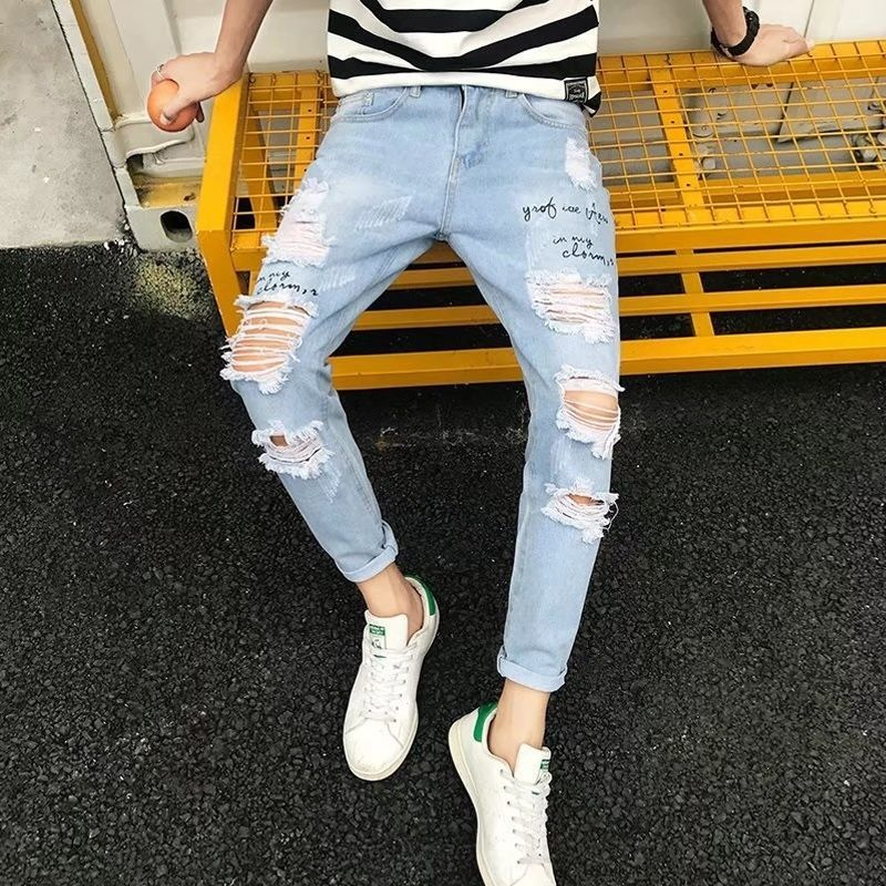 Spring And Summer New Pierced Jeans Men's Loose Straight Cylinder Leisure Korean Edition Fashion Student Beggars Nine Points Pan
