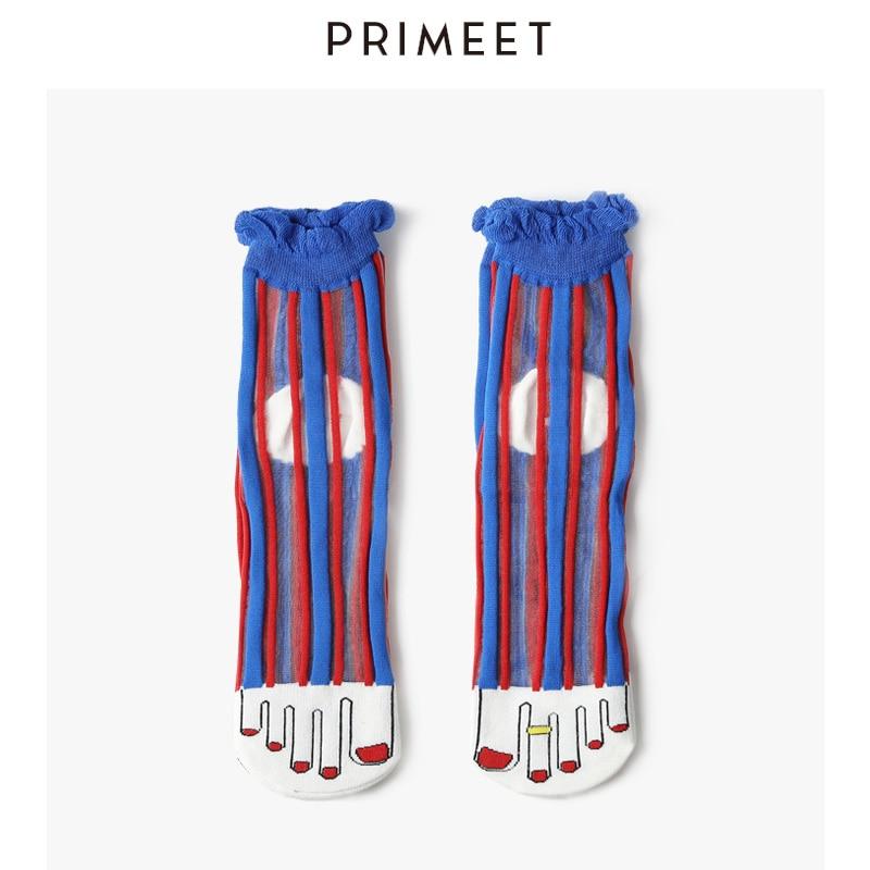 Summer Thin Women Sheer Socks Cartoon Ruffle Socks Fishnet Funny Cute Rainbow Bow Socks Lace Spirited Fashion Tulle Ankle Socks
