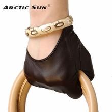 Gorąca sprzedaż kobiet prawdziwej skóry rękawiczki krótki akapit moda pół rękawiczki skóra jagnięca rękawiczki fala występy L098N