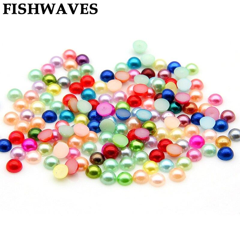 FISHWAVES 300 piezas 6mm media perla perlas decoración hecha a mano DIY  boda artesanía suministros accesorios para la ropa de joyería Color de la  mezcla b8217288225d