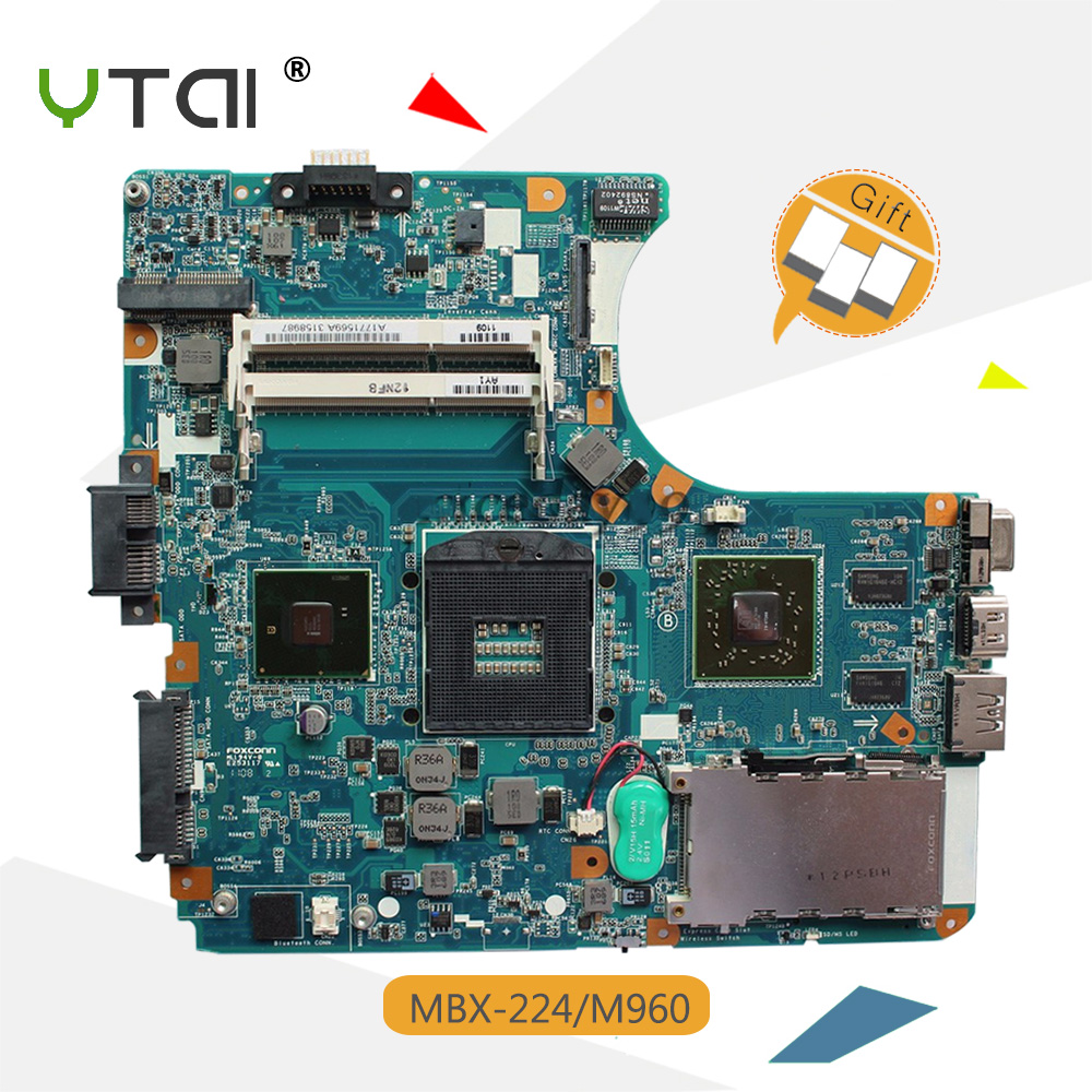YTAI MBX-224 M960 For Sony M960 MBX-224 laptop Motherboard HM55 A1771569A 1P-009CJ01-8011 REV:1.1 mainboard fully tested mbx 265 for sony svt13 motherboard with cpu i3 3217u 2gb memory pc motherboard professional wholesale 100