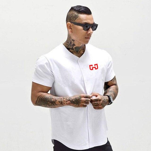 Męska Baseball Jersey New Arrival przycięte Tee męskie koszulki z krótkim rękawem Tshirt odzież sportowa