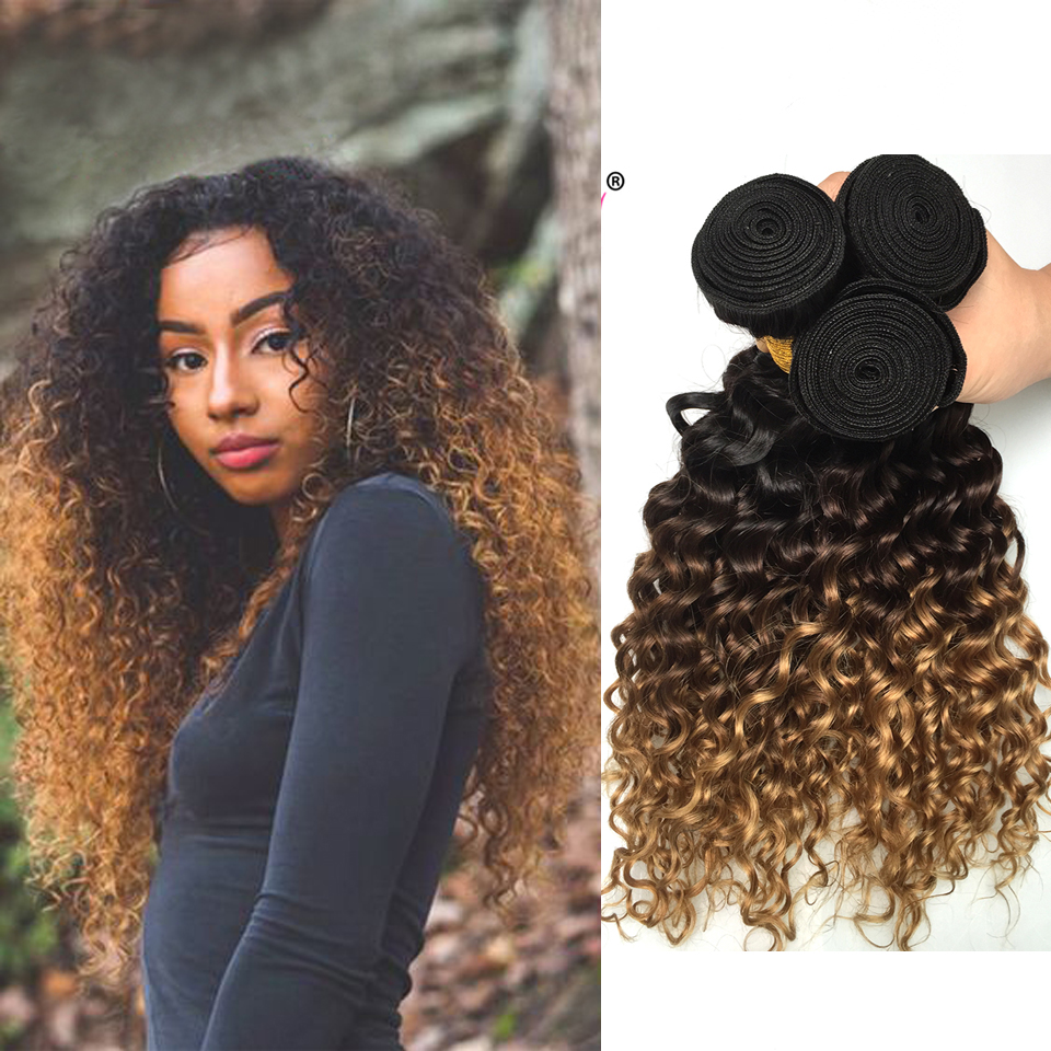 Ombre Malaysian Deep Wave Hair 3 Bundles 1b/4/27 Honey Blonde Non Remy Human Hair Bundles With Closure Extensions Beauty Lueen-in 3/4 Bundles from Hair Extensions & Wigs    2