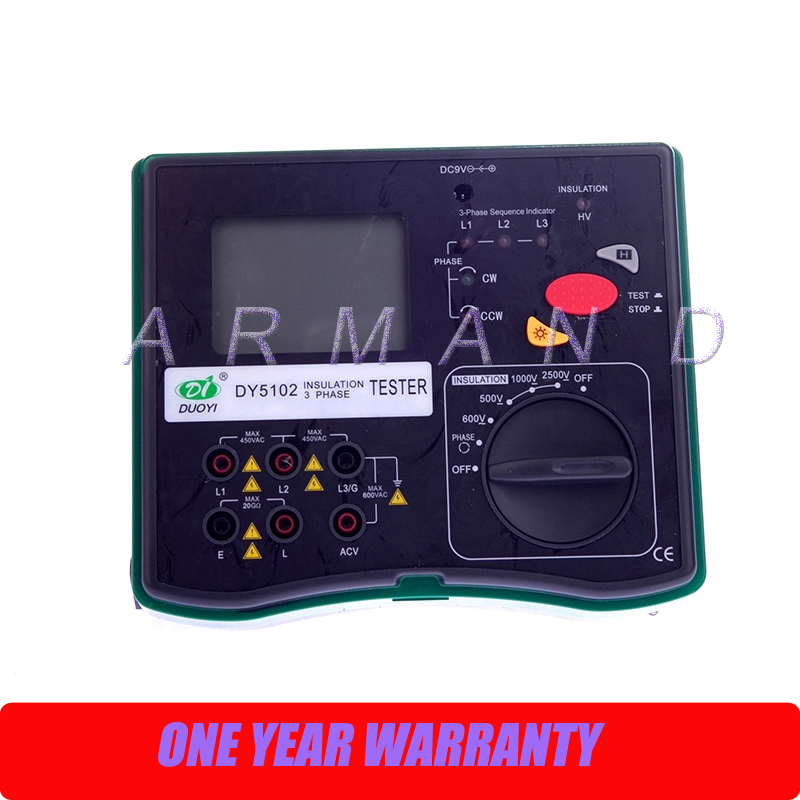 DY5102 Insulation Tester Megohmmeter 2500V + Voltmeter + Phase Indicator 3 in 1 original usb 5102 pci 5102 selling with good quality and contacting us