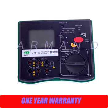DY5102 Insulation Tester Megohmmeter 2500V + Voltmeter + Phase Indicator 3 in 1