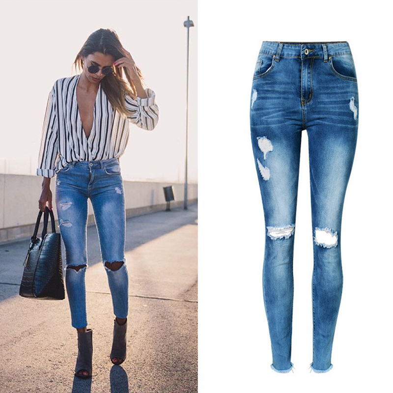 Female Boyfriend Jeans Pencil Pants High Waist Slim Fit Jeans For Women Jeans With Tassel Hole