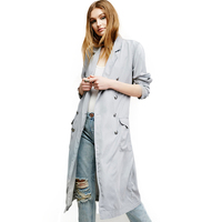 Double Breasted Women Coats Long British Style Cardigan Maxi Trench Coat Tweed Winter Abrigo Mujer Woman