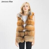 Jancoco Max Real Fur Vest Women Genuine Raccoon Fur Gilet Hooded Long Waistcoat Winter New Fashion Coat S1542