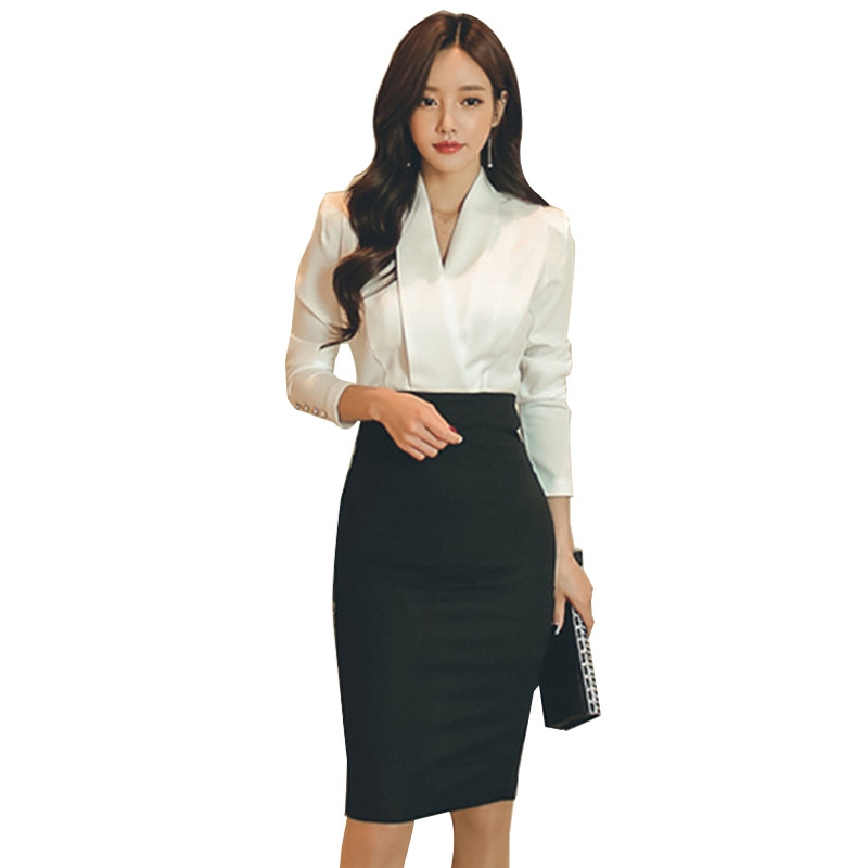 SWYIVY Woman Skirt Suits Bag Hip Long Skirt + White Shirt Two Piece Set Ladies 2019 Spring Fashion Female OL Suits Cutout