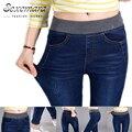 2016 Sexy Jeans mujeres Ocasionales taille lastique picada crayon pantalon pantalón de Mezclilla Larga Plus Pantalones Vaqueros pantalones de la Señora