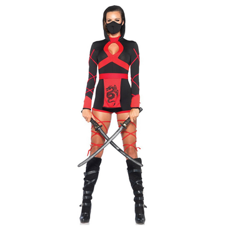 <font><b>Halloween</b></font> New Ninja Cosplay Mask Black Hooded <font><b>Costume</b></font> Assassin Game Cosplay Women Adult <font><b>Sexy</b></font> <font><b>Anime</b></font> Ninja <font><b>Costume</b></font> Black Suits image