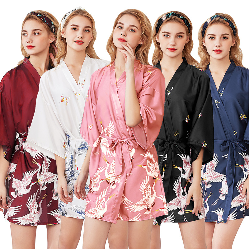 Wedding Bride Bridesmaid Robe White Crane Print Bathrobe Sexy Pink Short Kimono Night Bath Robe Dressing Gown Sleepwear
