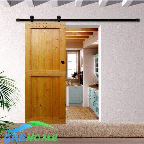 4.9FT/6FT/6.6FT carbon steel Interior American style top mount sliding barn door kit