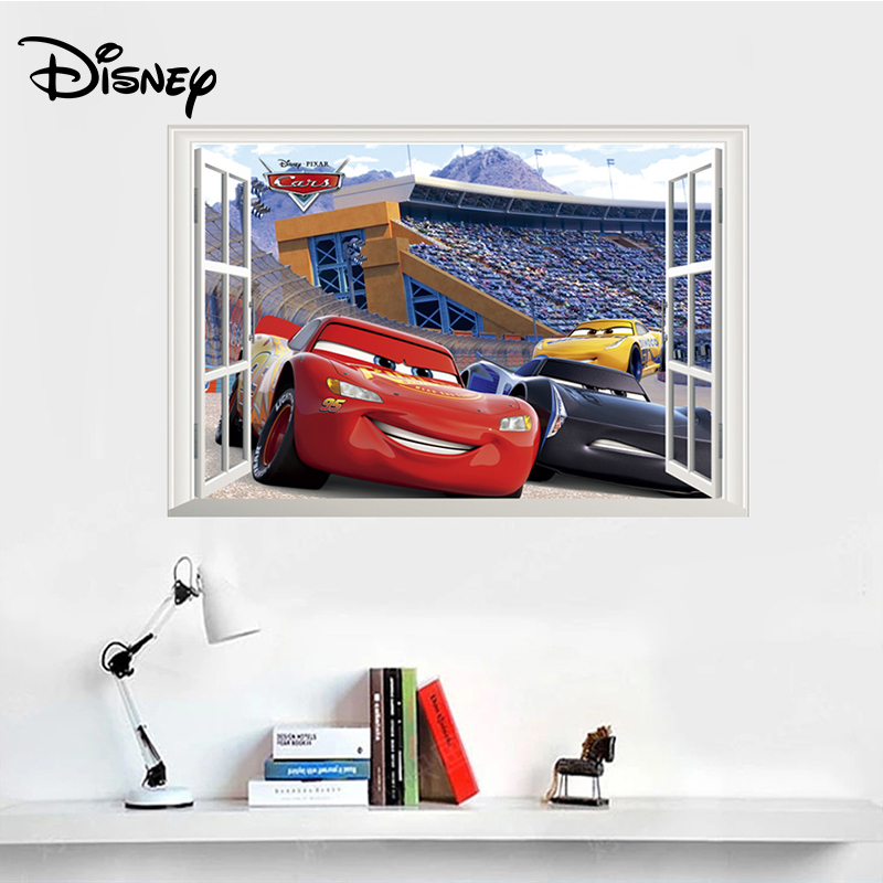 Disney Pixar Cars Lightning McQueen Sticker Mater PVC Waterproof Self-adhesive Bedroom Decoration Birthday Gift Toy For Kid
