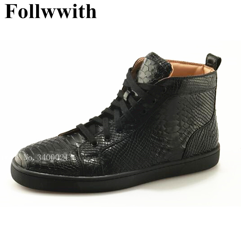 2018 Fashion Follwwith Brand Alligator Leather High Top Men Casual Shoes Flats Lace UpTrainers Zapatillas Sexy Shoes Men hot sale 2016 top quality brand shoes for men fashion casual shoes teenagers flat walking shoes high top canvas shoes zatapos