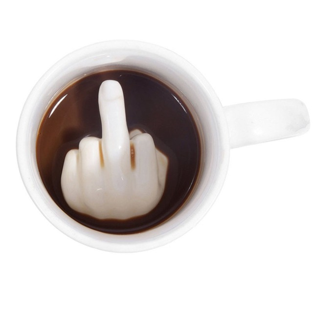 Creative White Middle Finger Style Cup Novelty Mixing Coffee Milk Cup Funny Ceramic Mug Enough Capacity Water Cup Drop Shipping 1