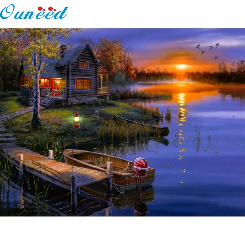 Ouneed Happy Home Lakeside Lodge Diamond Embroidery 5D Diamond DIY Painting Cross Stitch Crafts 1 Piece цена