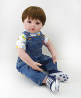 22 Inch Baby Boy Doll Toy Soft Vinyl Collectible Toddler Reborn Baby Doll In Denim Pants Fashion Doll Gifts for Kids