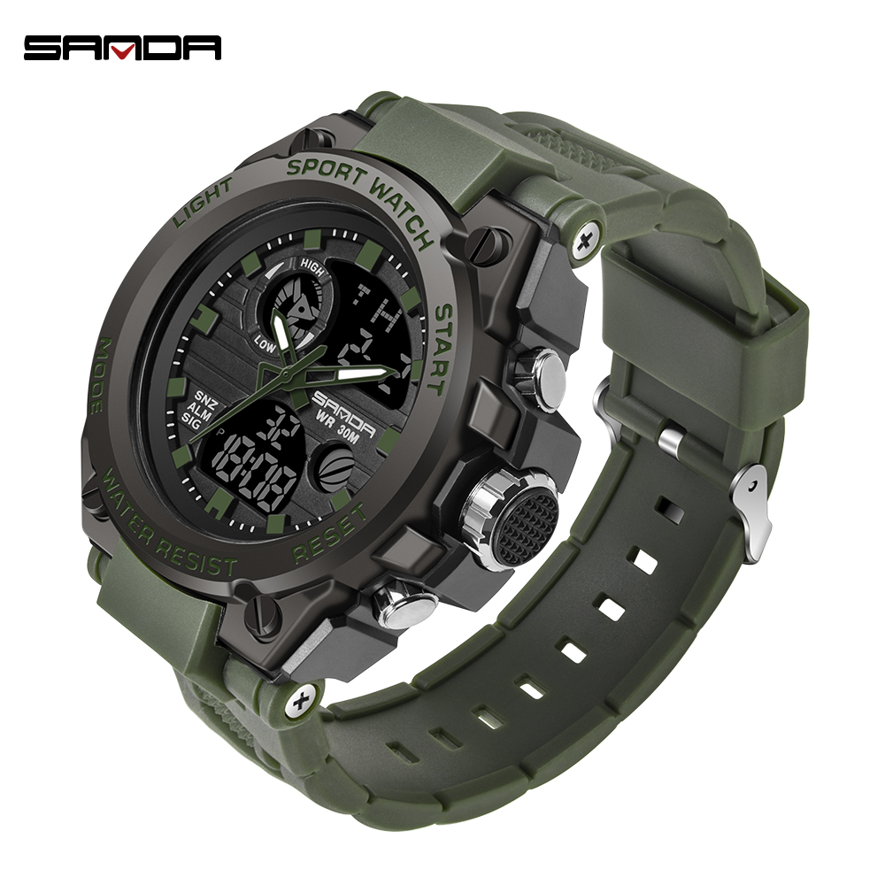 SANDA Fashion Men Sports Watches Professional Military Mens Digital LED Army Dive Watch Casual Electronics Wristwatches Relojes