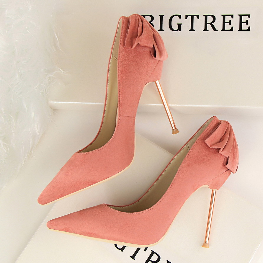 Sexy Bow High Heels Pointed Toe Women Shoes 2016 Keroan Party Wedding Shoes Women's Singles Shoes 9 Colour