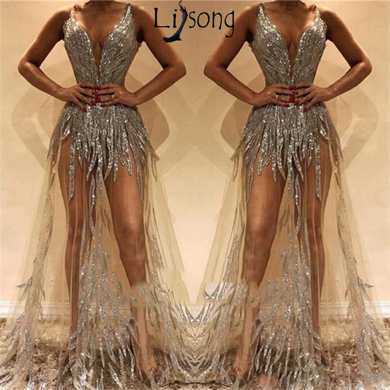 Sexy Illusion Long   Prom     Dresses   Deep V Neck Beads Sequined Party Gowns See Through Chic Evening   Dress   Custom Made Robe de soiree