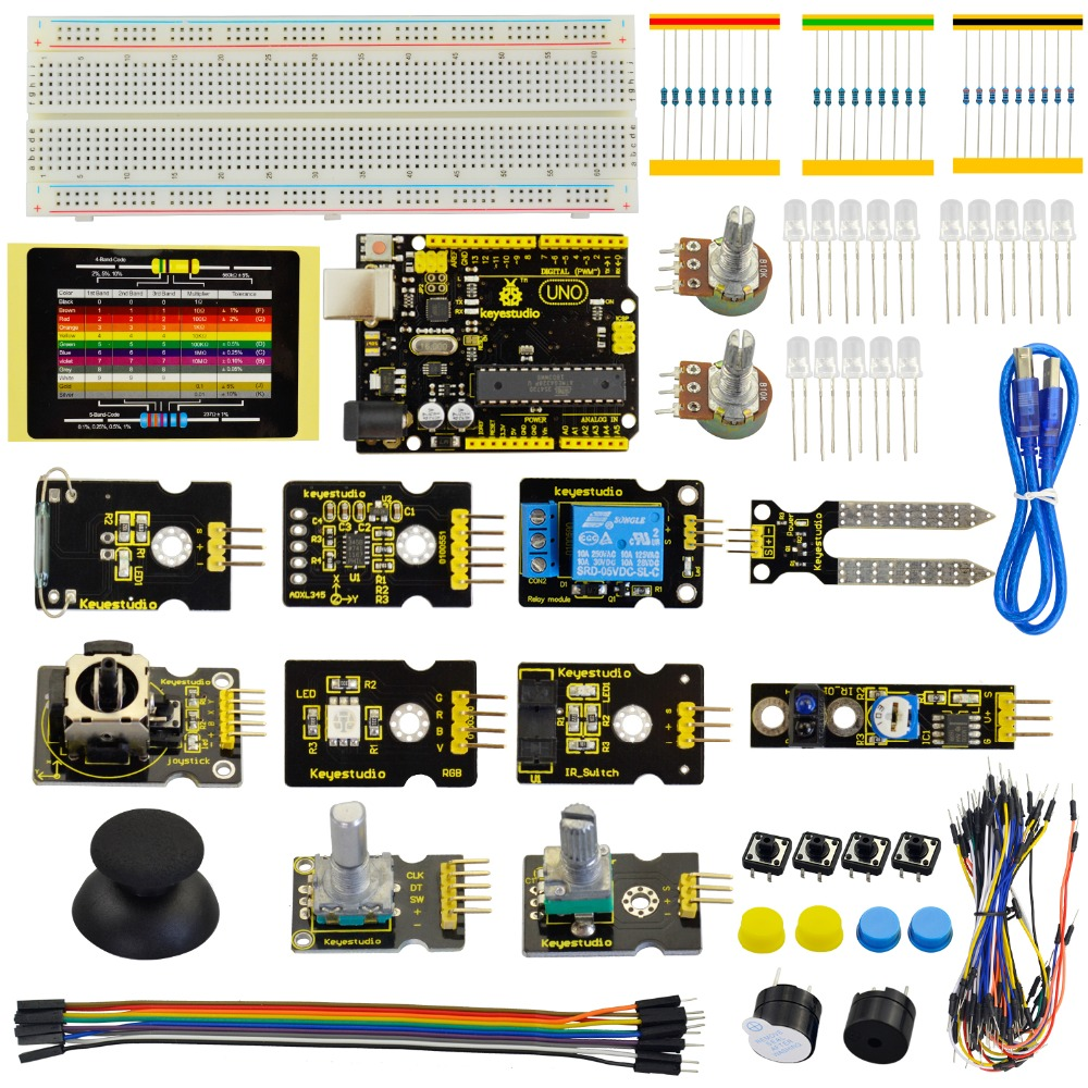 Keyestudio Sensor Starter Kit-k4 For Arduino Education Learning Kit W/uno R3+adl345+joystick+rgb Led+19projects Home Automation Kits