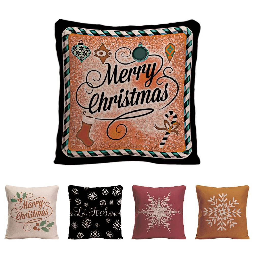 Merry Christmas Cushion Cover Decorative Pillow for Car Covers Let It Snow Pillow Case Holly Snowflake Home Decor Pillowcase