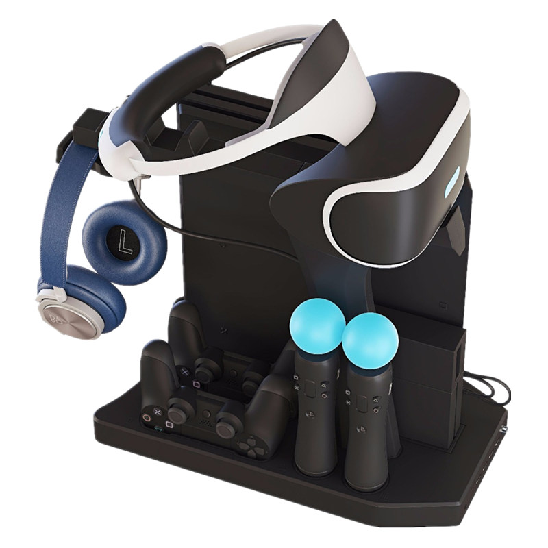 Cooling Fan Cooler Controller Charger Hub Charging Display Stand Showcase For PS4 VR 1 2 PS4