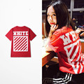 New Arrive Fashion Top Tee Hip Hop Oblique Striped White Print Short Sleeve T Shirts Skateboard West Coast Fashion Red Shirts