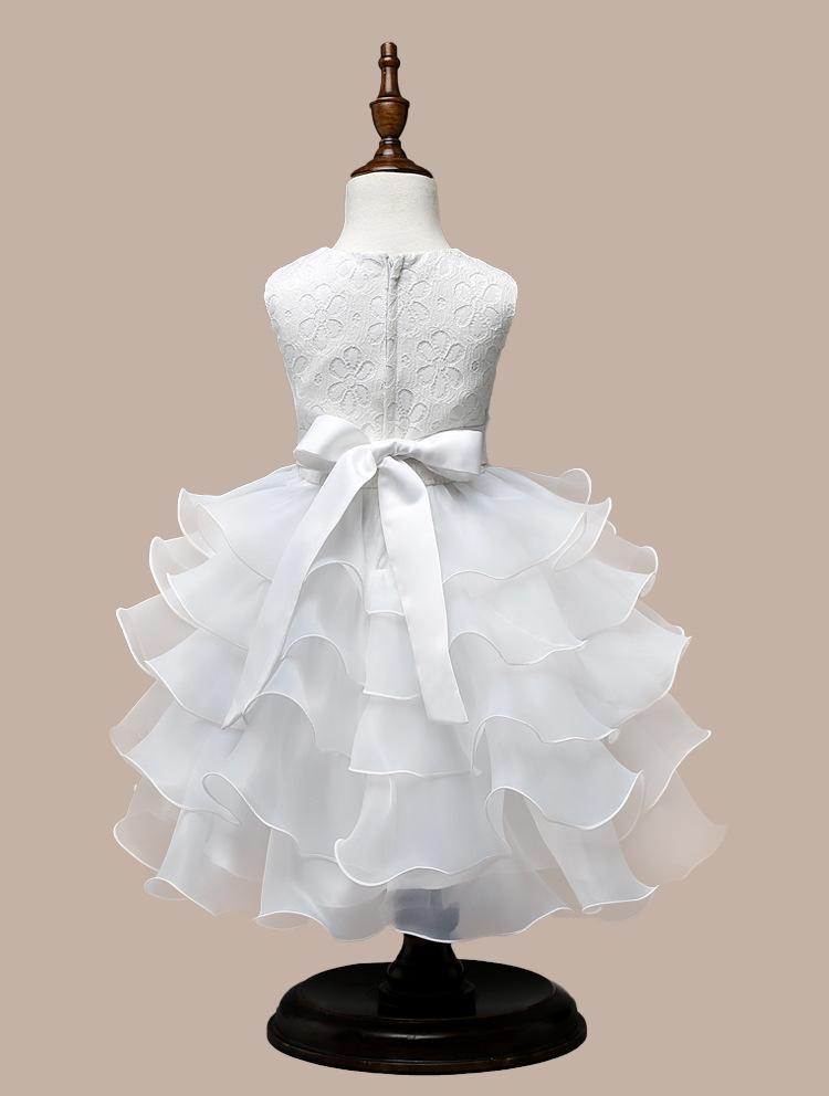 0-7 Years Mutlti Layer White Pink Flower Girl Dress 12