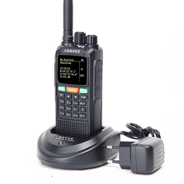 2pcs abbree ar-889g walkie talkie gps 10watts 3000mah battery cross band repeater 999ch dual band dual receiving portable radio