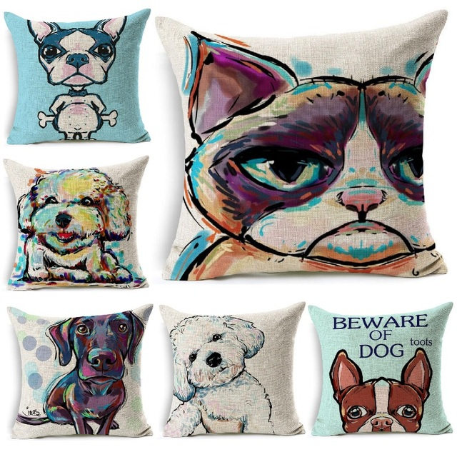 Cushion Cover Grumpy Cat Painting Dog Cat Pattern Linen Throw Fascinating Decorative Pillows Dogs