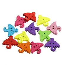 100Pcs Mixed 2 Holes Umbrella Shape Wooden Buttons Fit Sewing and Scrapbook Charms 23x23mm( 7/8 x 7/8)