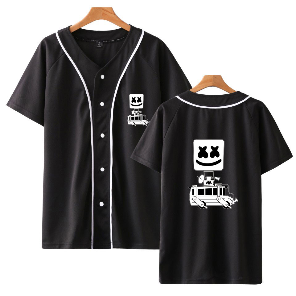 DJ Marshmello Printed Baseball T Shirts Women Men Short Sleeve Trend Casual Hip Hop Loose Tee Shirt Baseball Jersey Teen Clothes