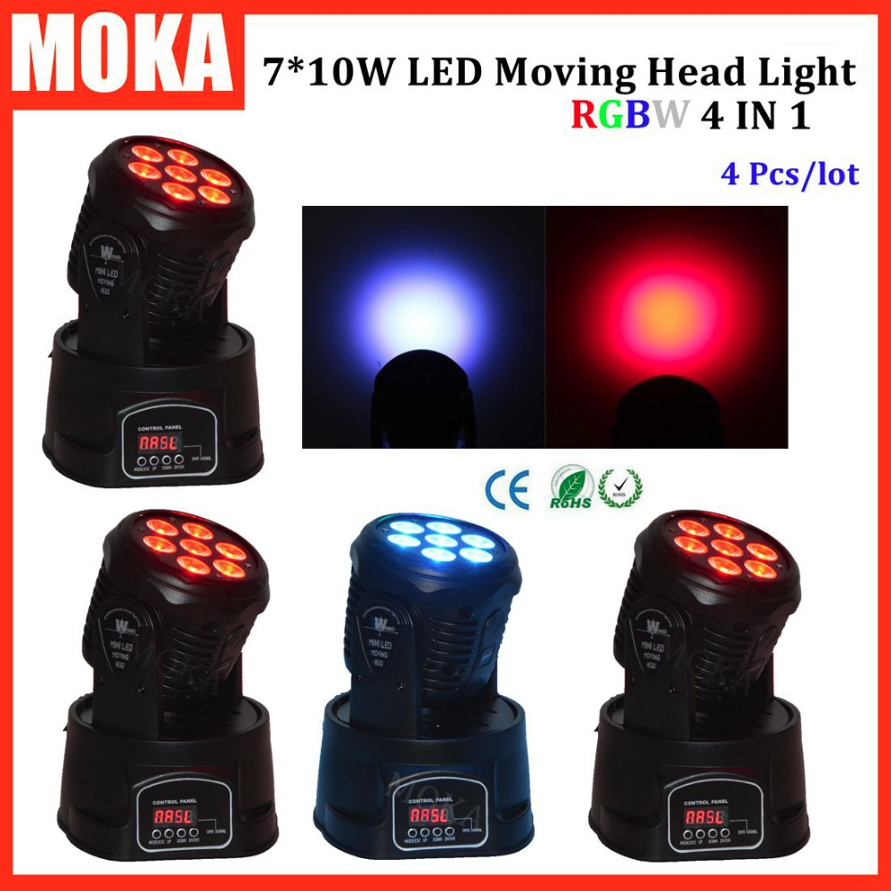 4 Pcs/lot 7x10w led moving heads stage lighting equipment Mini spot moving head light Dj Disco light RGBW dmx for dj laser