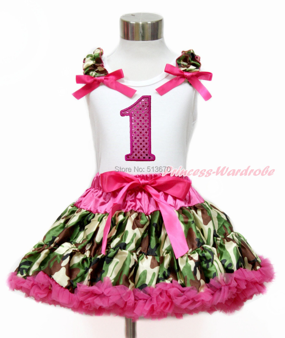 Hot Pink Sparkle 1ST White Top Camouflage Pettiskirt Set 1-8Year MG1212
