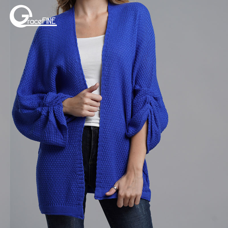 Winter Knitted Sweater Cardigan Female Flare Sleeve Loose Striped Jumper Casual Autumn Women Pure Color Cardigan Sweater Coat.