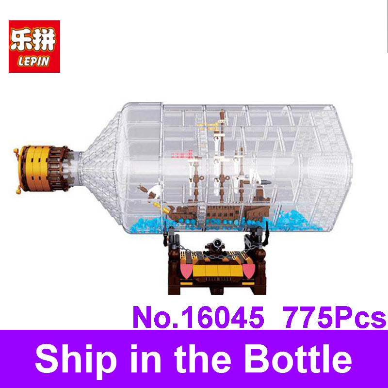 Lepin 16045 775Pcs Genuine Creative Series The Ship In The Bottle Set Assemble Building Blocks Bricks Christmas Toy For Children 8 in 1 military ship building blocks toys for boys
