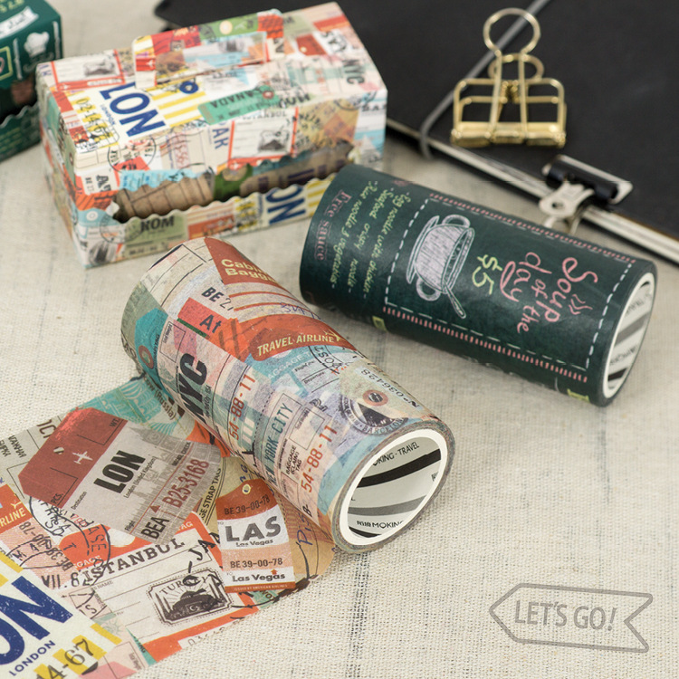 Cool Vinage Design Travel And Food Theme Creative Washi Tape 90mm*5M 1 Piece Free Shipping 2018 DIY Decoration Supplies Gift