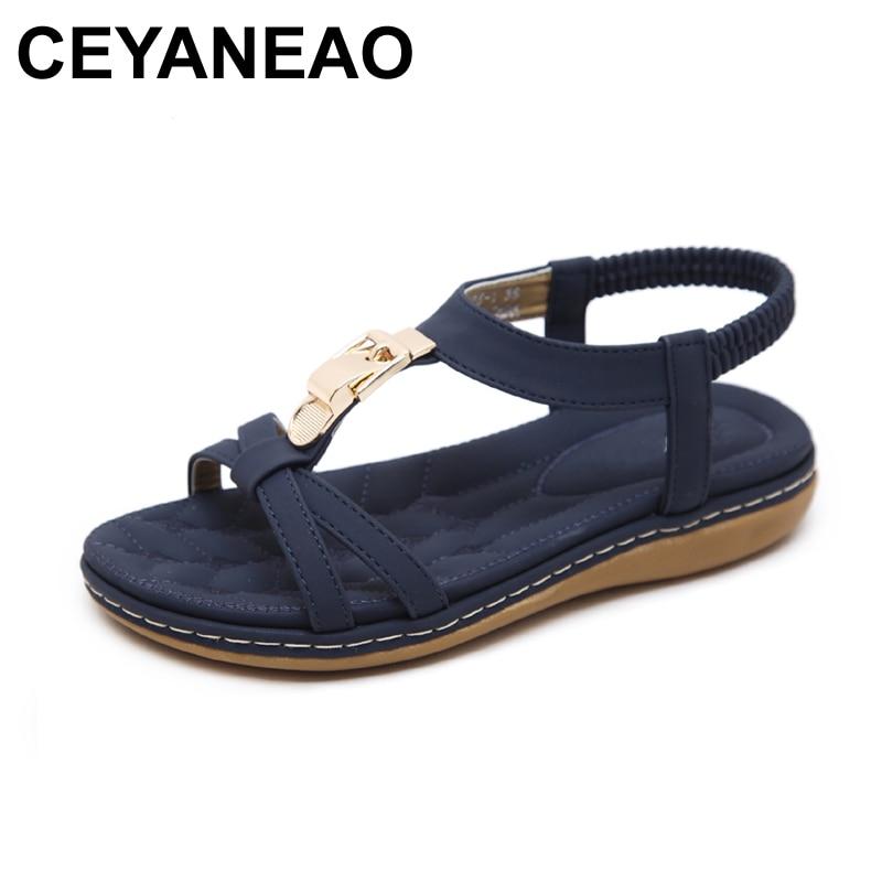 Ceyaneao Zomer Comfort Casual Flats Open Teen Schoenen Vrouwen Boho Bohemian Sandalen Metalen Decoratie Elastische Band Gladiator Sandalen Opruimingsprijs