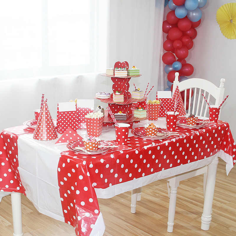 Red Polka Dot Disposable Tableware ชุดแผ่นกระดาษ Cupacake พลาสติกขาตั้งตารางผ้าตาราง Centerpieces Party party Supplies