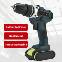 Rechargeable Mini Cordless Dual Speed Electric Drill Power Rotary Tools Hand Impact Drill Machine with 2pcs Batteries 128 188 208f brushless cordless wrench impact socket tool with 2 batteries 15000 20000 30000mah hand drill power tools