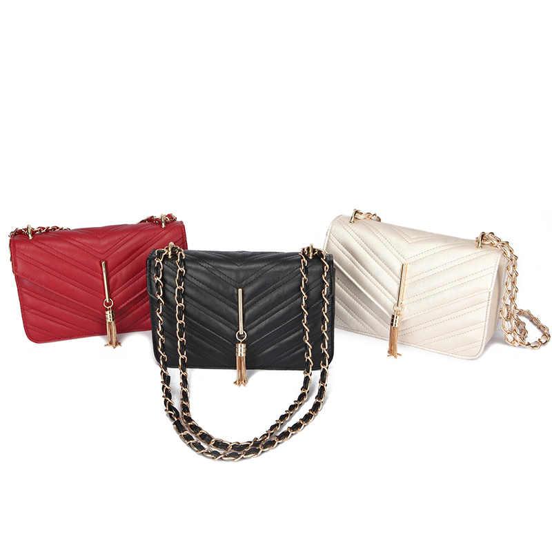 489f98709f05 Aminou 2019 New Tassel Fashion Pu Leather Solid Women Handbags Ladies  Designer Bag Casual Shoulder Messenger