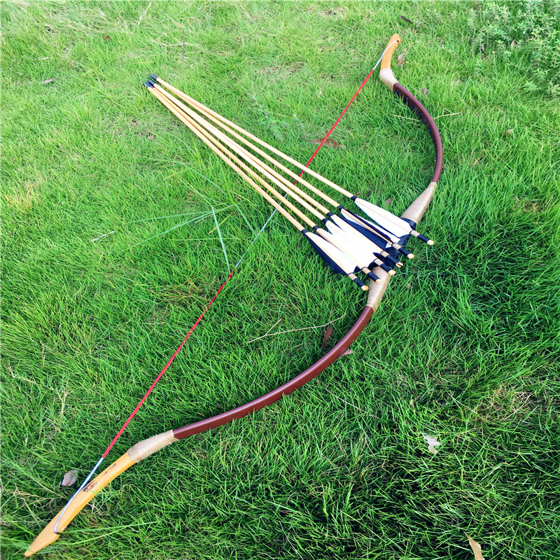 20-80Ibs Chinese Traditional Handmade Brown Bow For Archery Longbow +6 Arrows