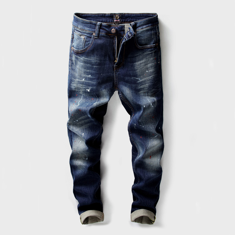 2018 Fashion High Street Men's Jeans High Quality Slim Fit Paint Printed Jeans Hip Hop Pants Brand Designer Classical Jeans Men high quality mens jeans ripped colorful printed demin pants slim fit straight casual classic hip hop trousers ripped streetwear