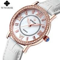 Top Luxury Women Watches Ladies Rhinestone Rose Gold Quartz Watch Women White Leather Wristwatch Female Famous