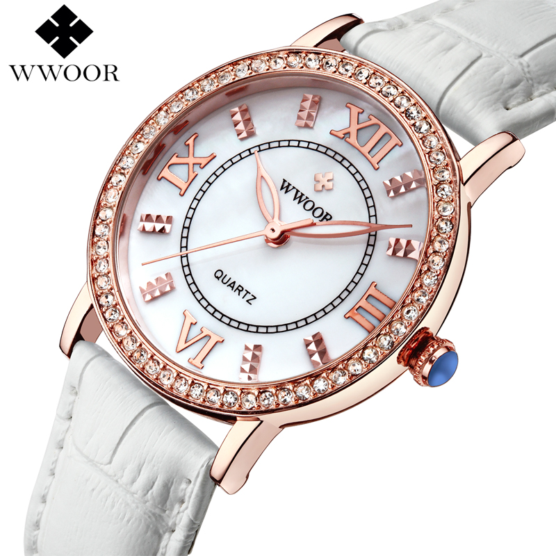 Top Luxury Women Watches Ladies Rhinestone Rose Gold Quartz Watch Women White Leather Wristwatch Female Famous Brand WWOOR Clock luxury top brand guanqin watches fashion women rhinestone vintage wristwatch lady leather quartz watch female dress clock hours