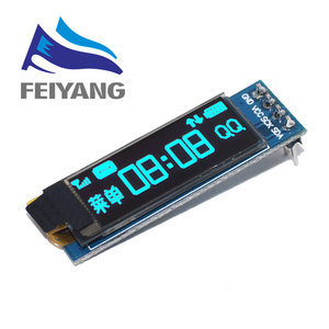 "Image 3 - 1 قطعة 0.91 بوصة OLED وحدة 0.91 ""أبيض/أزرق OLED 128X32 OLED شاشة LCD LED وحدة 0.91"" IIC التواصل ل ardunio"