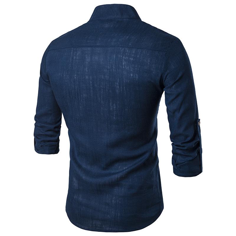 Tunique col Mao bleue marine, manches longues, vue de dos